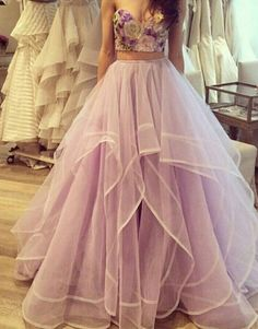 Fashion Lavender Prom Dress - Sweetheart Floor Length with Appliques