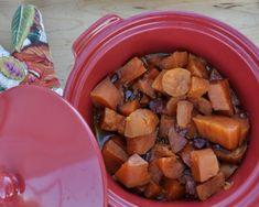 Slow Cooker Sweet Potatoes with Cranberry & Orange, another easy sweet potato recipe ♥ AVeggieVenture.com