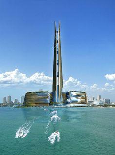 Futuristic Architecture, Miapolis by Kobi Karp, Miami, Florida, Futuristic City, Skyscraper