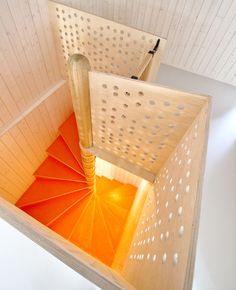 Interior staircase, wood-clad nursery school, Oslo, Norway. Architect: RRA.