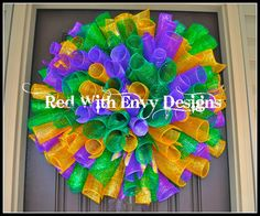 Mardi Gras Curyy Deco Mesh Wreath by RedWithEnvyDesigns