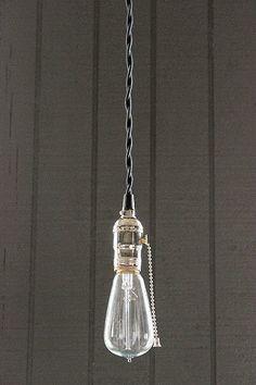 industrial bare bulb pendant light silver pull chain socket lighting. Black Bedroom Furniture Sets. Home Design Ideas