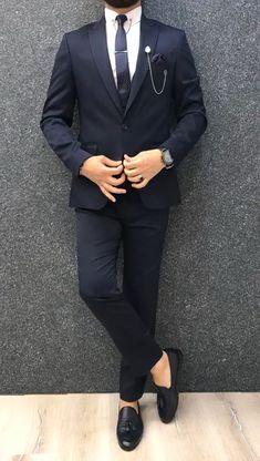Bernard Navy Shine Slim Suit is part of Suit vest Product Bernard Navy Shine Slim Suit Color code ALL NAVYSize EU Suit material Woolen, Polyester Machine washable - Blue Slim Fit Suit, Blue Suit Men, Casual Chic, Foto Casual, Blazer Outfits Men, Stylish Mens Outfits, Men Blazer, Indian Men Fashion, Mens Fashion Suits