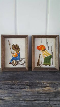 Vintage Pair Framed Needlework Boy Fishing/Baseball Wall Hanging Embroidery by…