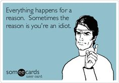 Everything happens for a reason. Sometimes the reason is you're an idiot.