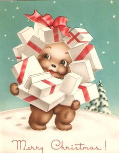 Bear and Presents Vintage Christmas Card
