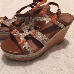 """Lucky Brand wedge cork sandals ❤️Brand new condition. 4"""" wedge. Orange brown and snake skin print in leather. Lucky Brand Shoes Wedges"""