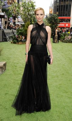 Charlize Theron Wears Sexy Sheer Christian Dior gown  for 'Snow White and The Huntsman' London premiere