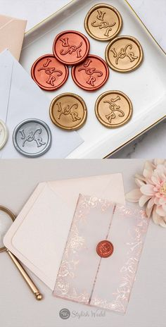 The luxury foil-pressed floral vellum jacket wedding invitation with a custom wax seal sticker has a beautiful and stunning pattern and matched vellum cards with a script font. Perfect for any season and this is an invitation that is sure to impress.
