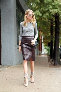 8b50b469c4 Brown leather skirt and strappy ankle heels outfit street style fashion