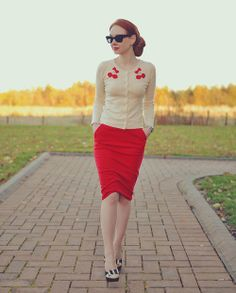 Love the cherries on the cardigan. Retro and super cute.