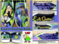Custom hand painted shoes Disney Villians with Maleficent (Sleeping Beauty) and the Evil Queen (Snow White). Love the color combo. DIY canvas crafts.