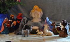 Nativity Set-Merry Christmas-Needle felted figures-12 pieces-Art dolls-Holy Land-mother and child, father, shepherd, kings, sheep, donkey, camel-Waldorf inspired   by daria.lvovsky