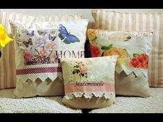 Como Decorar un Almohadón Vintage con Servilletas - Imitación Puntilla c... Sewing Pillows, Diy Pillows, Recycled Paper Crafts, Decoupage Tutorial, Pillow Tutorial, Country Paintings, Handmade Pillows, Arts And Crafts, Pattern Design