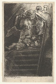 Jacob's Ladder Rembrandt (Rembrandt van Rijn)  (Dutch, Leiden 1606–1669 Amsterdam) Date: 1655 Medium: Etching, engraving and dry point Dimensions: sheet: 4 5/8 x 3 1/16 in. (11.8 x 7.8 cm) Classification: Prints Credit Line: Bequest of Phyllis Massar, 2011 Accession Number: 2012.136.464