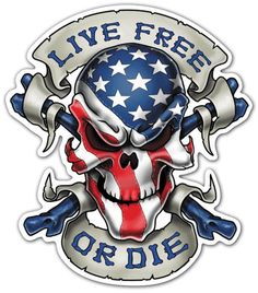 Pegatinas: Calavera Live Free or Die