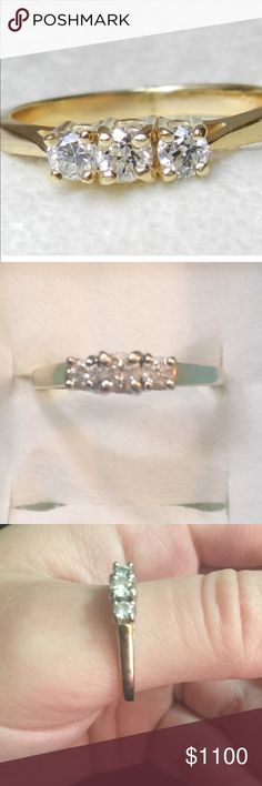 STUNNING 3 DIAMOND 14K GOLD RING-Kay Jewelers 💍 Every Kiss Begins With Kay. 3 diamond 14k gold ring. Size 10.5, please note if you would like it resized let me know upon purchasing. It will likely take a week or so. I can have it polished as well. Bought by Kay Jewelers originally for $1,700.00. LDS RD 3 CLEAR STONE RING 💍 Papers available if needed. Lifetime Guarantee! Kay Jewelers Jewelry Rings