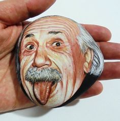 Geschilderde steen Albert Einstein portret Geschilderd met
