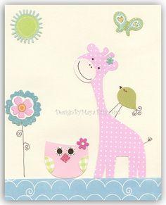 Baby girl nursery wall art Print Art giraffe baby owl...Friends on the grass light blue