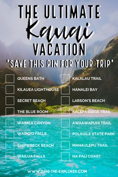 Kauai, Hawaii Vacation/ Honeymoon Destinations with Dani The Explorer - Kauai, Hawaii is one of the best vacation spots in the world! This Kauai, Hawaii bucket list pin sh - Vacation Savings, Kauai Vacation, Best Vacation Spots, Hawaii Honeymoon, Honeymoon Destinations, Best Vacations, Beach Trip, Vacation Trips, Romantic Vacations