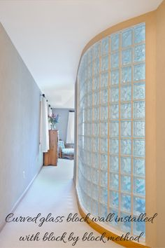 What is the best method to install a slightly curved glass block wall for style, stability and safety? Learn more - http://blog.innovatebuildingsolutions.com/2014/07/12/glass-block-wall-sturdy/ #InnovateBuilding