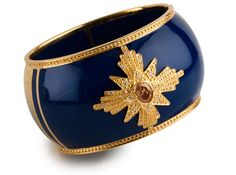NAVY resin cuff with gold detailing and SMOKY TOPAZ CZ center stone