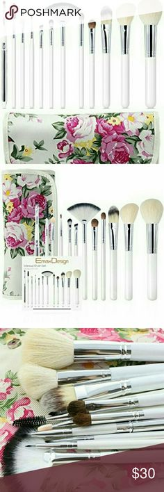 NWT 12 BRUSHES PLUS FLORAL CASE This EmaxDesign cosmetic brush set will show your natural beauty and leave a flawless finish. Handmade brushes made of goat hair, horsehair and premium synthetic fiber materials provide an incredible touch and feel. High quality material, high density bristle, wooden handle, Long-time use. These essential brushes are perfect for liquids, powders, or creams to produce a beautiful face and eye makeup application. Makeup brush set with leather roll case bag for…