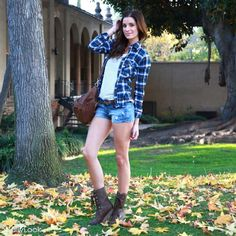 Plaid flannel shirt - white cami - denim shorts - brown belt - brown oversized bag - brown combat boots