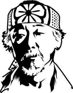 Mr Miyagi Karate Kid Movie Decal - Mr Miyagi Karate Kid Movie Decal Best Picture For kids face For Your Taste You are looking for so - Karate Kid Movie, Karate Kid Cobra Kai, Face Stencils, Stencil Art, Stenciling, Miyagi, Silhouette Art, Scroll Saw Patterns, Gravure