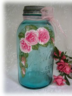 Ball jar with hand painted roses