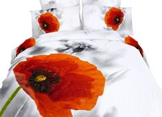 Poppies Bedding 3D Floral Comforter Cover Full/Queen Poppy Duvet Set by Dolce Mela @ www.designedtoinspirebedding.com