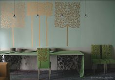 By the metre Hand Painted Wallpaper, Hand Painted Walls, Emery Et Cie, Furniture Projects, House Design, Table, Room, Stencil, Wallpapers