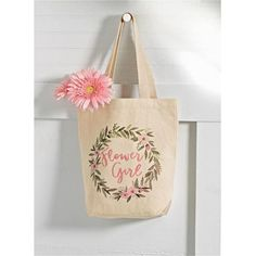 Flower Girl Tote Bag   Time Your Gift Bridesmaid Tote Bags, Bridesmaid Gifts, Bridesmaids, Flower Girl Gifts, Flower Girl Basket, Wedding With Kids, Wedding Ideas, Wedding Decorations, Asking Flower Girl