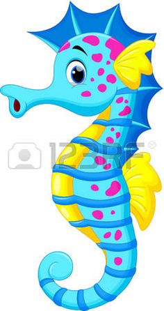 Illustration about Illustration of Cute Seahorse Cartoon. Illustration of drawing, marine, picture - 32326964 Seahorse Cartoon, Cartoon Sea Animals, Seahorse Art, Seahorses, Diy And Crafts, Crafts For Kids, Paper Crafts, Disney Drawings, Cartoon Drawings