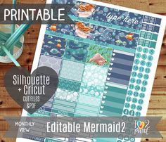 Editable Mermaid 2 Monthly View Printable Planner Stickers, Erin Condren Planner Stickers, Monthly Overview Stickers, Watercolor / Cut files