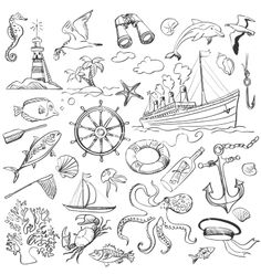 Handdrawn elements of marine theme vector on VectorStock