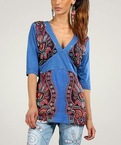 Look at this Peace and Love Blue Floral Tie-Back V-Neck Tunic on #zulily today!