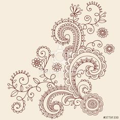 Flowers Henna Doodle Vines Vector Design Elements