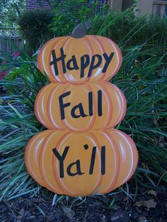 Stacked Pumkins Happy Fall Ya'll Halloween Yard Art Ready To Ship! Original…