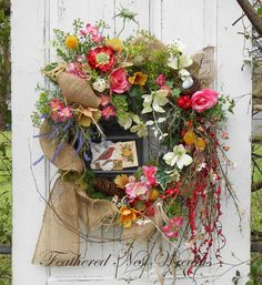 Spring Wildflower Wreath, Spring Door Wreath, Door Decor, Cottage Decor, Summer Wreath, Porch Wreath, Handmade, Rustic Decor, Garden Decor