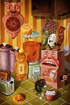 - Los Angeles-based artist, Nouar, is an artist who transforms food into beings. The illustrator makes images of anthropomorphic edible characters,. Arte Lowbrow, Creepy Art, Weird Art, Food Art Painting, Dope Art, Psychedelic Art, Horror Art, Surreal Art, Vintage Art