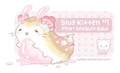 Surprise custom Slug Kitten Baby for It's a little more pink than I planned, but I hope you still like it! This Baby Slug Kitten has pearls floating in . Slug Kitten for susaido Cute Fantasy Creatures, Magical Creatures, Pokemon, Kawaii Drawings, Cute Drawings, Chibi, Creature Drawings, Super Cute Animals, Kawaii Art