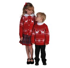Nordic Knits Matching Brother Sister Sweaters Reindeer Motifs