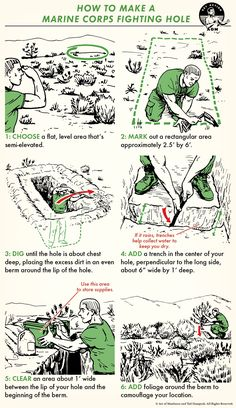 How to Dig a Foxhole Like a Marine - Survival Skills Survival Shelter, Tactical Survival, Wilderness Survival, Camping Survival, Bushcraft Camping, Survival Life Hacks, Survival Tools, Survival Prepping, Survival Quotes