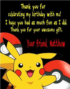 Personalized Pokemon Pikachu Pokeball Birthday Party Thank You Note Cards by DannisCuteCreations
