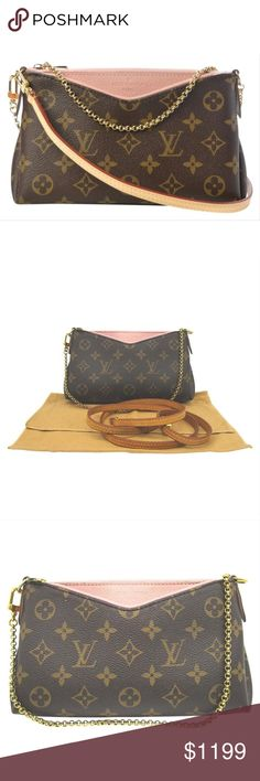 9e9aec01a711 Louis Vuitton Pallas Clutch Monogram Rose Chain LOUIS VUITTON Monogram Pallas  Clutch Rose Poudre crafted of