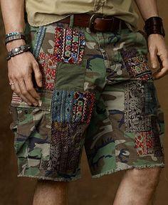Denim Supply Ralph Lauren Shorts, Patched Cut Off Cargo Shorts - Shorts - Men - Macys Boho Outfits, Vintage Outfits, Vintage Clothing, Estilo Denim, Denim Patchwork, Ralph Lauren Shorts, Denim And Supply, Distressed Shorts, Shopping