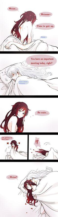 RWBY, White Rose<<<Ice Flower and loving Ruby with long hair Yuri Anime, Manga Anime, Anime Love, Rwby White Rose, Rwby Rose, Rwby Comic, Rwby Ships, Fanart, Team Rwby