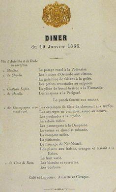 """menu """"un dîner pour Sissi"""" le 19 janvier 1865 à Vienne, Autriche"""