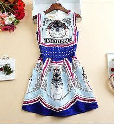 Sleeveless A Line Printed Summer Dress